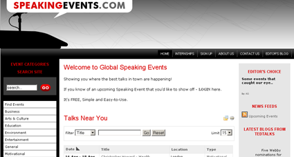 Speaking Events website